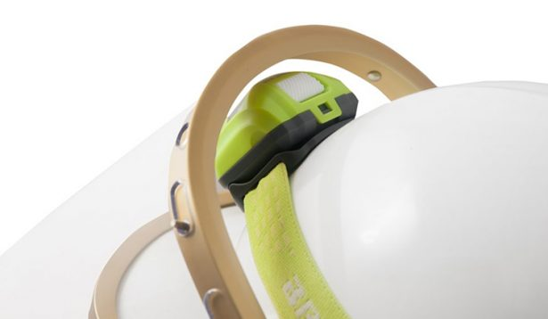 Bright Star green headlamp on helmet