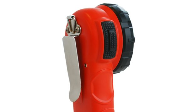 Right angle flashlight with clip